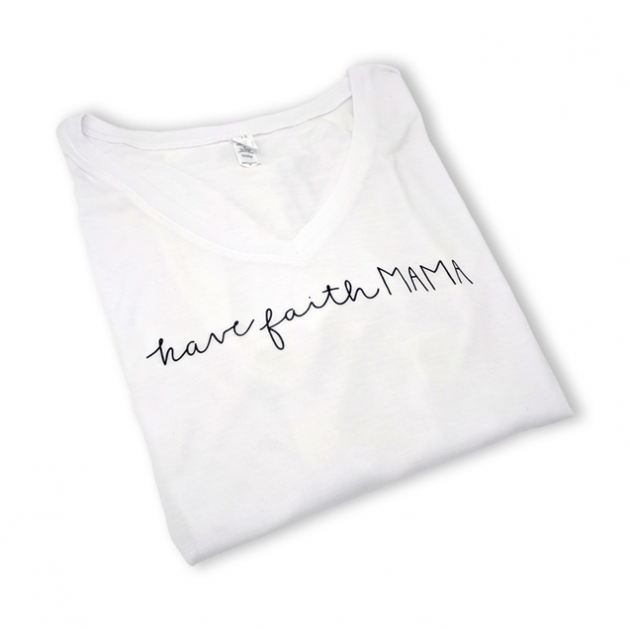 """White Agape Co casual v-neck top with the words """"have faith mama"""" screen printed on the front."""