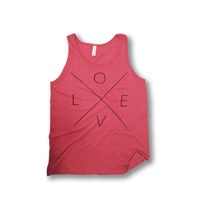 """Red Agape Co casual tank top with the word """"LOVE"""" screen printed on the front."""