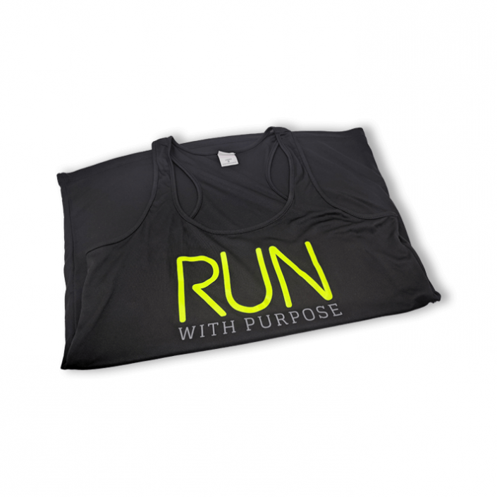 """Black Agape Co sport tank top with the words """"run with purpose"""" screen printed on the front."""