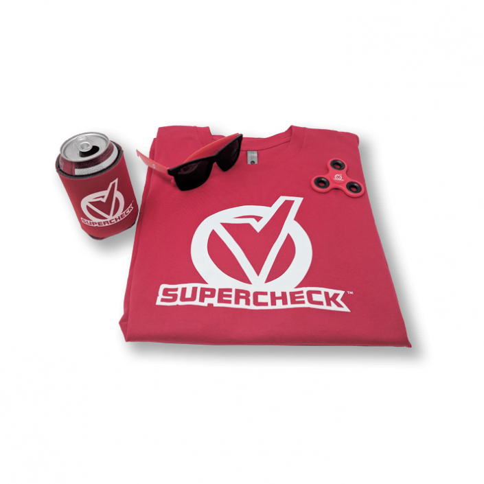 Collection of Supercheck branded items for Farm Bureau Financial Services showing a red folded t-shirt, a red spinner, a pair of red sunglasses, and a red coozie.