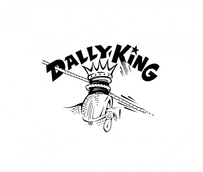 Dally King logo in grayscale.