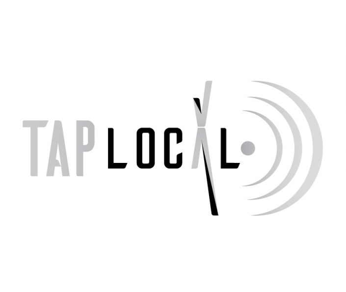 TAP Local logo in grayscale.